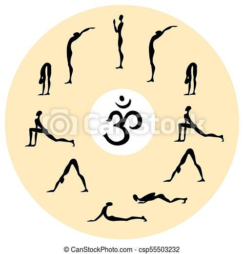 Yoga Infographics Surya Namaskar Set Salutation The Sun