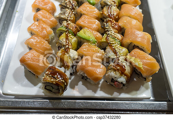 Sushi Buffet Platter Various Sushi Buffet Rolls At Self Serve Station Canstock Webster groves newest sushi station restaurant located in the historic district known as old copyright © 2020 sushi station. can stock photo
