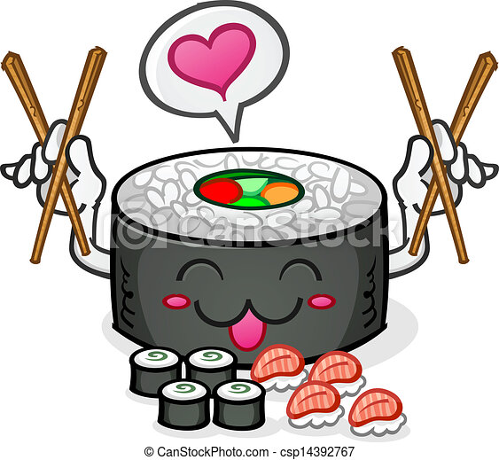 sushi character eating platter a happy sushi cartoon clip art rh canstockphoto com sushi clip art free sushi clipart kawaii