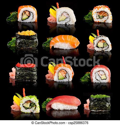 sushi, delicioso, pedazos - csp25886376