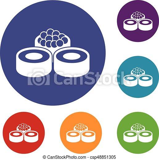 sushi, ensemble, icônes - csp48851305