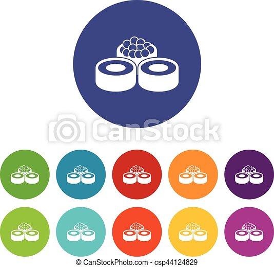 sushi, ensemble, icônes - csp44124829