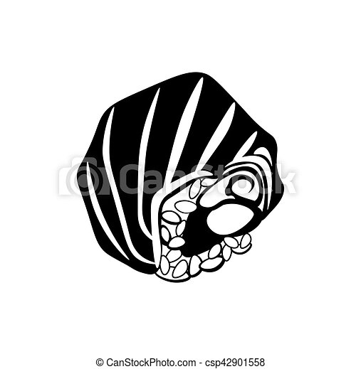Sushi icon in black monochrome style isolated on white background. Food symbol vector illustration - csp42901558