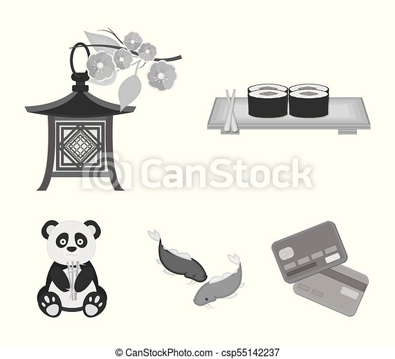 Sushi, koi, estilo, pez, panda.japan, iconos, linterna,... vectores ...