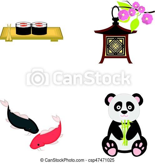 Sushi Koi Fish Japanese Lantern Pandajapan Set Collection Icons In Cartoon Style Vector Symbol