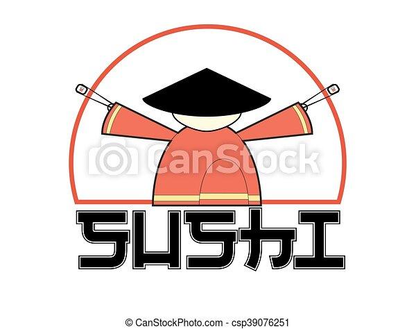 sushi logo samurai holding chopsticks with sushi isolated rh canstockphoto com samurai logistics north dakota samurai logo with no no background