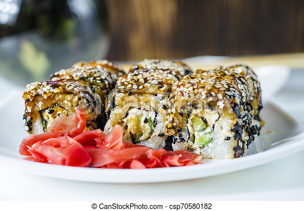 sushi roles japanese delicious food - csp70580182
