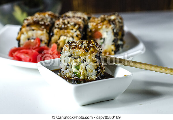 sushi roles japanese delicious food - csp70580189