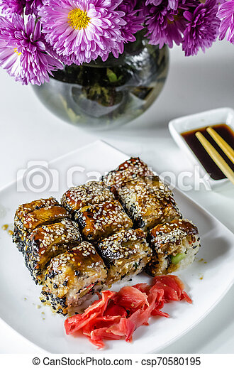sushi roles japanese delicious food - csp70580195