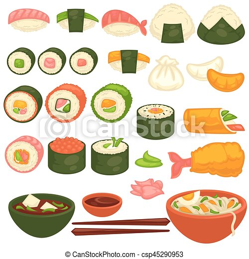 Sushi Rolls And Sashimi Japanese Cuisine Restaurant Menu Vector Icons