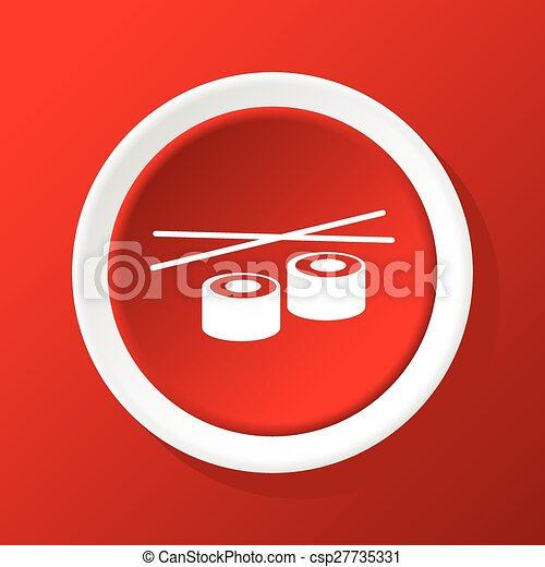 Sushi rolls icon on red - csp27735331