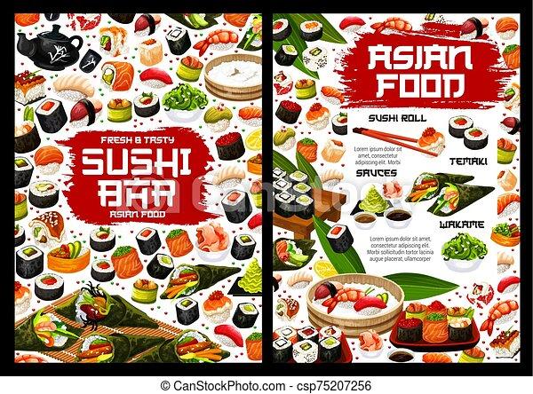 Sushi Rolls Sashimi Maki Temaki Japanese Food Japanese Sushi Rolls Vector Menu Asian Food Salmon Fish Sashimi Rice