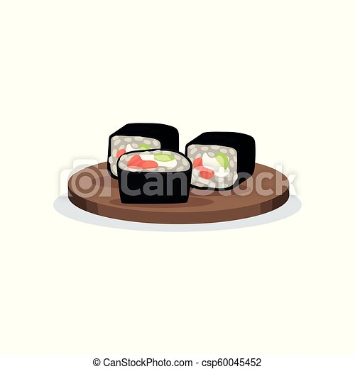 Sushi Rolls With Nori Rice And Salmon Traditional Japanese Cuisine Food Vector Illustration On A White Background