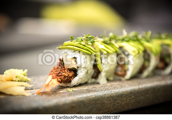 Sushi rolls with prawns on a stone plate - csp38861387