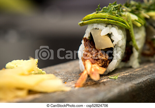 Sushi rolls with prawns on a stone plate - csp52824706
