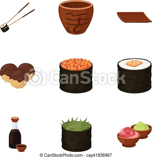 sushi set icons in cartoon style big collection of sushi clip rh canstockphoto com sushi clip art free sushi clipart gif
