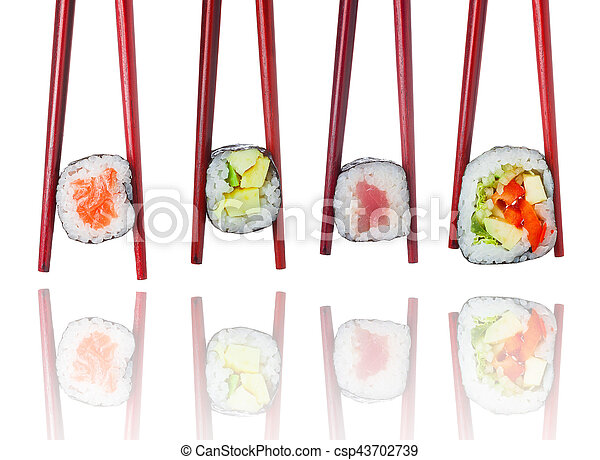 Sushi set in wooden brown chopsticks isolated on white background - csp43702739