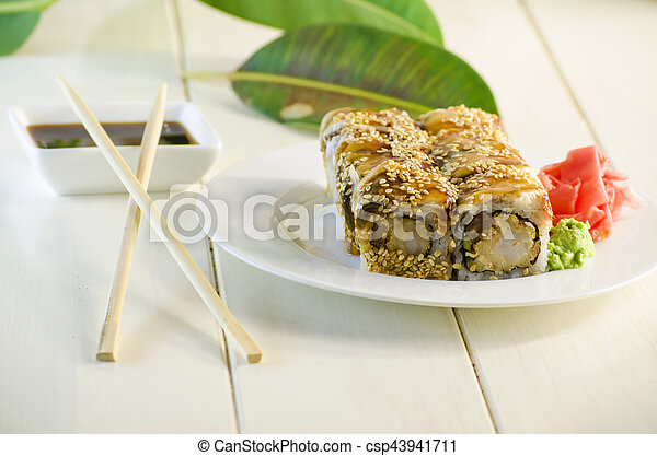 sushi with eel - csp43941711