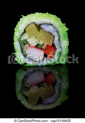 sushi with flying fish eggs