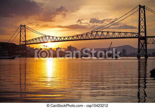 Suspension Bridge at Sunset - csp10423212