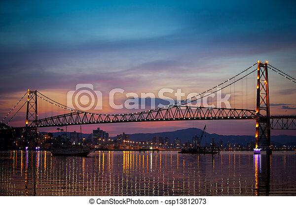Suspension Bridge at Sunset - csp13812073