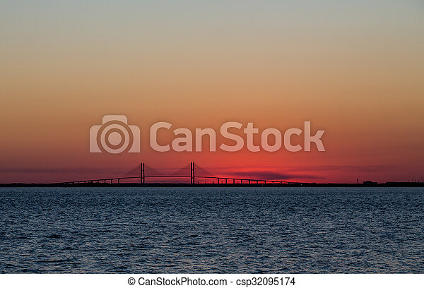 Suspension Bridge at Sunset - csp32095174