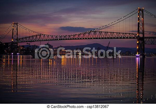 Suspension Bridge at Sunset - csp13812067