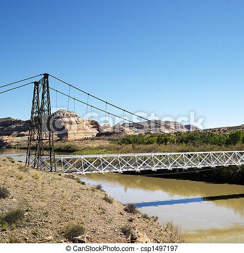 Suspension bridge over river. - csp1497197