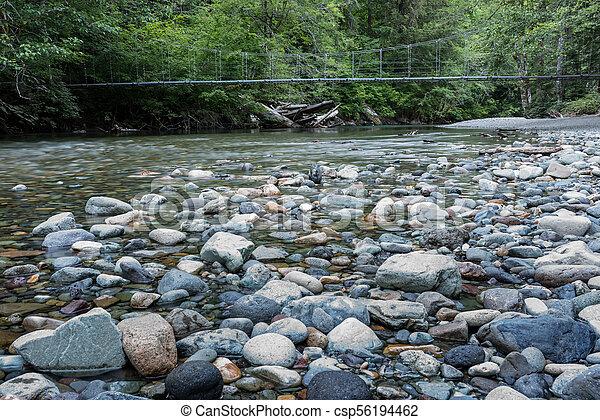 Suspension Bridge Over Rocky Creek - csp56194462