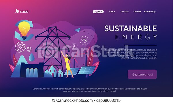 Sustainable energy concept landing page