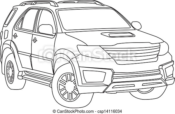 Suv car outline vector