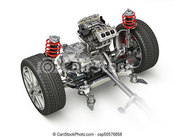 SUV Car Under carriage technical 3 D rendering. Front part. - csp50576858
