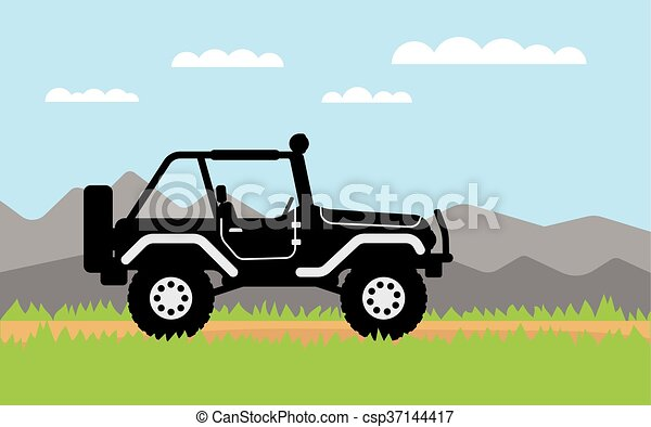 SUV rides on, background of mountains. - csp37144417