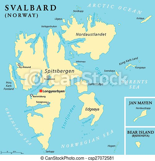 Svalbard political map with capital longyearbyen a vector
