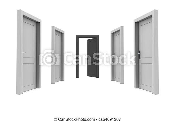 svart, dörr, ta - csp4691307