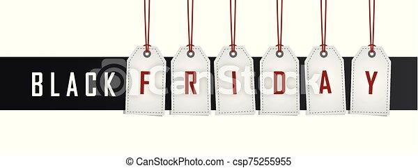 svart, etikett, hängande, befordran, fredag - csp75255955