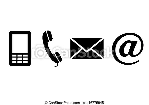 svart, kontakta, icons. - csp16775945