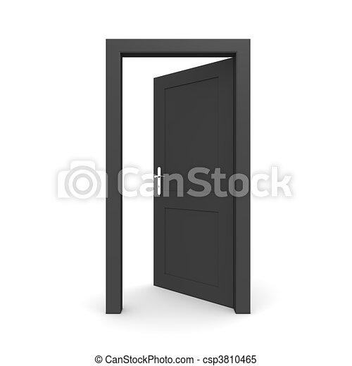 svart, singel, dörr öppna - csp3810465