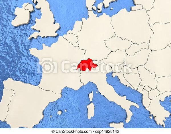 La Svizzera Cartina.Svizzera Mappa Acquoso Mappa Politico Illustrazione Oceans Svizzera Rosso 3d Canstock