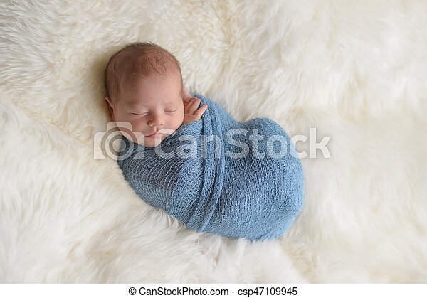 Swaddled Sleeping Newborn Baby Boy Sleeping Nine Day Old Newborn