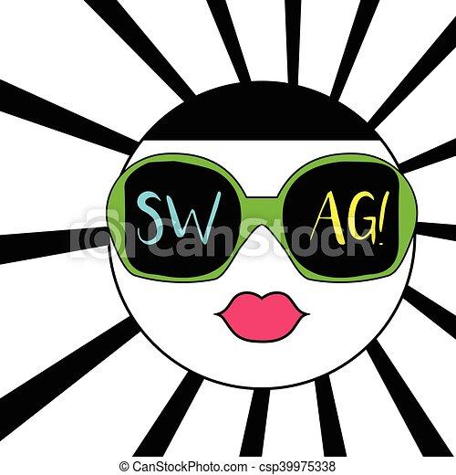 ee5ea26ee Swag, óculos de sol, coloridos, texto, face abstrata. Swag, óculos ...