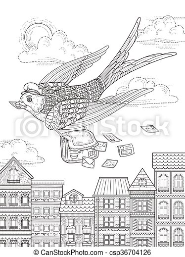 Swallow Adult Coloring Page