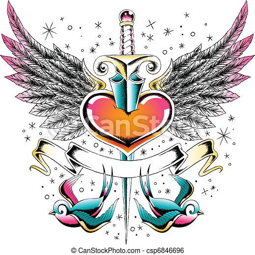 swallow wing heart emblem - csp6846696