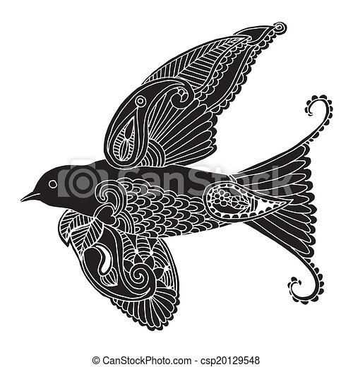 swallow with embroidery decoration  - csp20129548