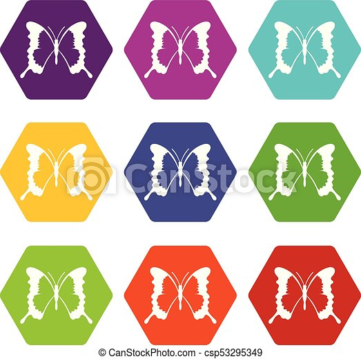 Swallowtail butterfly icon set color hexahedron - csp53295349