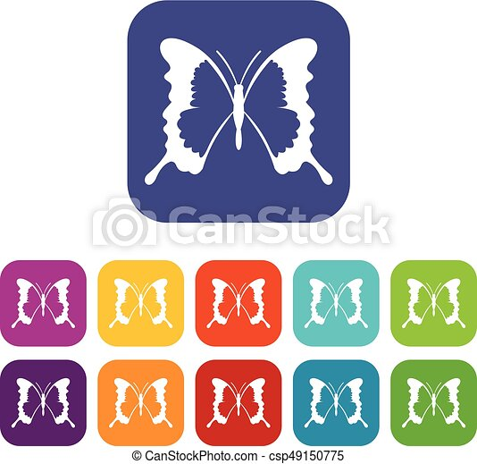 Swallowtail butterfly icons set - csp49150775