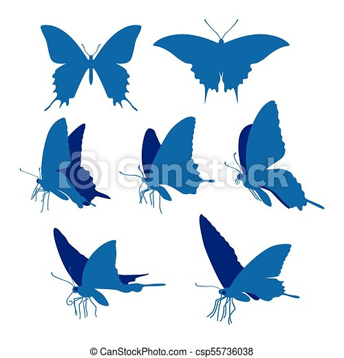 Swallowtail butterfly silhouettes illustration - csp55736038
