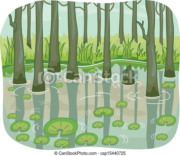 illustration of a swamp with lotus leaves floating around rh canstockphoto com swamp clipart black and white swamp clipart