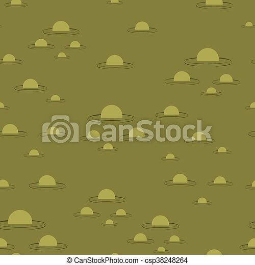 Swamp seamless pattern. Big green morass texture. Bubbles on background marsh mire - csp38248264