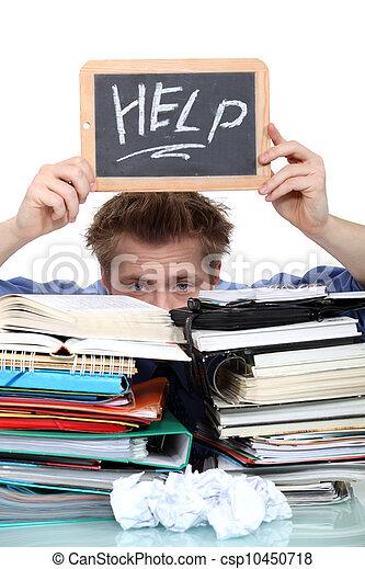 swamped, paperwork, estudante, sob - csp10450718